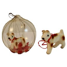 Kunstlerschutz Handwork West Germany Flocked Dog and Wire Wrapped Glass Christmas Ornaments German
