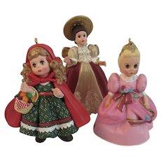 3 Madame Alexander Doll Christmas Ornaments by Hallmark