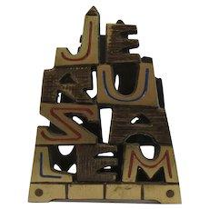Vintage Painted Brass Jerusalem Letter Holder.