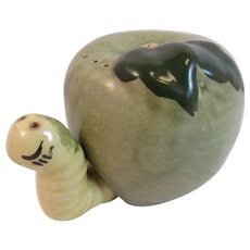 Vintage Green Apple and Yellow Worm Salt and Pepper Shakers Set