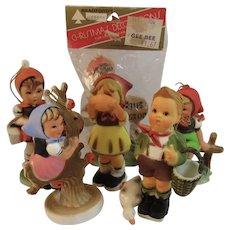 6 Vintage Bradford Hummel Style Christmas Ornaments Hard Plastic