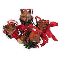 Vintage Mother Fox and 3 Kits, Cubs or Pups Christmas Ornaments Made by Midwest
