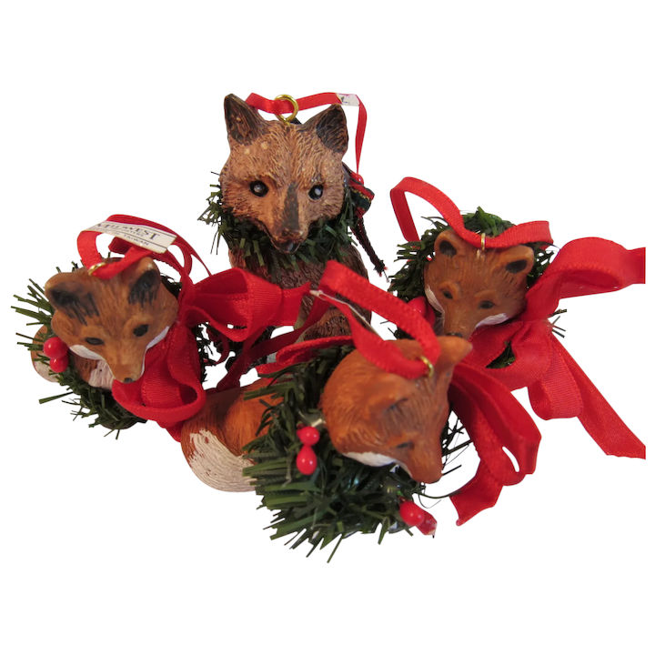 Cubs Christmas Ornaments.Vintage Mother Fox And 3 Kits Cubs Or Pups Christmas Ornaments Made By Midwest