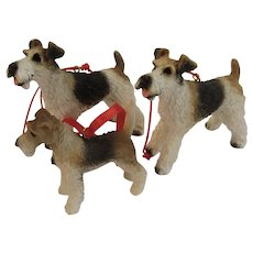 Vintage Terrier Dogs Christmas Ornaments