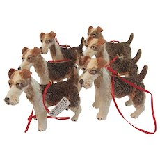 6 Wire Hair Fox Terrier Dog Christmas Ornaments by Midwest
