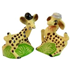 Vintage Giraffe Salt and Pepper Shakers