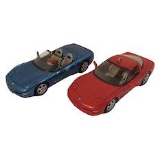2 Hallmark Corvette Christmas Ornaments 1996 and 1997 Corvettes