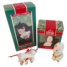 2 Hallmark Unicorn Christmas Ornaments Vintage