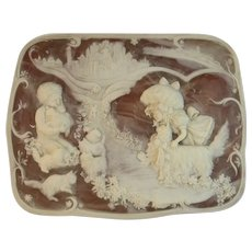 Almazetta Casey Incolay Jewelry Box Large Artist Signed Hand Made Vintage Children Cats Dogs