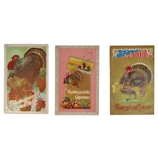3 Thanksgiving Tom Turkey Embossed Postcards Edwardian Era