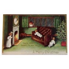 1912 Santa in the Window Christmas Postcard Embossed Children Tree Fireplace