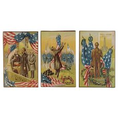 Abraham Lincoln Patriotic Postcard Series Inauguration Gettysburg Address and Monument American Flag Embossed Unused