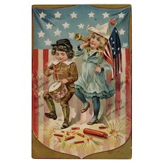Raphael Tuck & Sons Independence Day Series Embossed Postcard Children Drummer Boy Patriotic Firecrackers American Flag July 4th