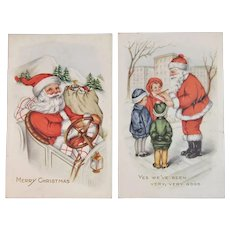 2 Santa Postcards Driving a Car and Checking List with Children Edwardian Era