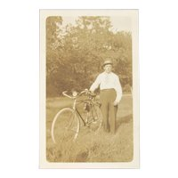 Vintage Photo of Man with His Bicycle Bike and Large Hat