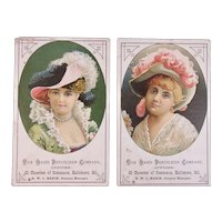 2 Rasin Fertlizer Co Victorian Trade Cards with Pretty Ladies in Hats Baltimore, MD