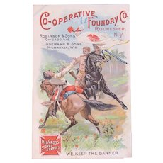 Red Cross Stoves and Ranges Victorian Trade Card with Soldiers on Horseback Fighting We Kept the Banner