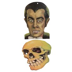 2 Vintage Eureka Halloween Faces of Dracula and a Skull