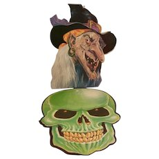 Vintage Peck Halloween Flocked Witch and Flocked Skull Circa 1988