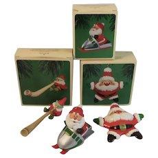 3 Vintage Hallmark Santa and Elf Christmas Ornaments