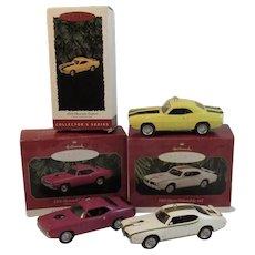 3 Hallmark Classic American Car Christmas Ornaments Muscle Cars Oldsomobile 442 Plymouth Hemi Cuda Chevrolet Camaro