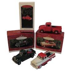 3 Hallmark Classic All American Truck Christmas Ornaments