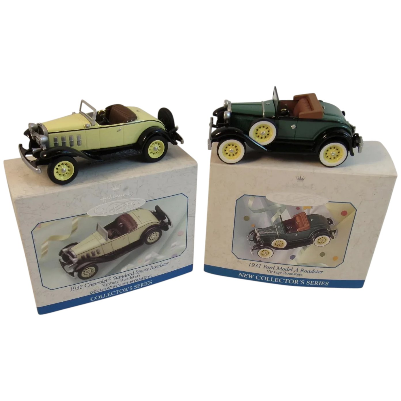 2 Hallmark Die Cast Roadsters Keepsake Christmas Ornaments Collector S Ss Moore Antiques Ruby Lane