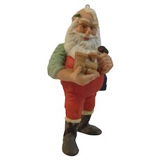 1986 Hallmark Hand Painted Porcelain, Artist Signed, Santa Claus Christmas Ornament On the Right track