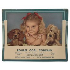 1950 Advertising Calendar Girl with Puppy Dogs for Rohrer Coal Company with Recipes
