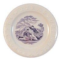 c 1860s ABC Plate Dogs Highlanders Hunting Purple Mulberry Transferware Transfer Antique Staffordshire Child's Dish Scottish Scotland
