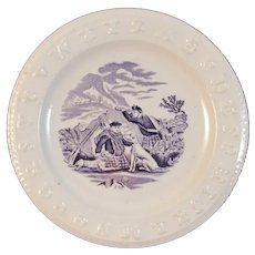c 1860s ABC Plate Dogs Highlanders Hunting Purple Mulberry Transferware Transfer Antique Staffordshire Child's Dish Scottish Scotland