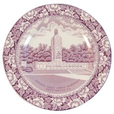 Ridgways Gettysburg PA Historical Staffordshire Plate Purple Transferware Transfer Eternal Light Peace Monument