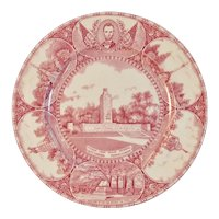 Adams Gettysburg PA Historical Old English Staffordshire Plate Red Transferware Transfer Lincoln Monuments High Water Mark Civil War