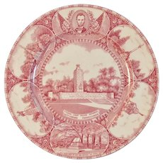 Adams Gettysburg PA Historical Old English Staffordshire Plate Red Transferware Transfer Lincoln Monuments High Water Mark