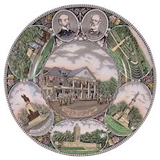 Adams Gettysburg PA Historical Old English Staffordshire Plate Transferware Transfer Meade Lee  Monuments High Water Mark
