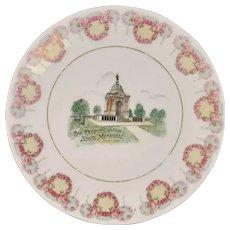 German Gettysburg Pennsylvania State Memorial Monument Battlefield Souvenir Porcelain Plate Silesia