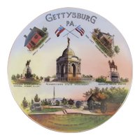 German Gettysburg PA Battlefield Monuments and Sites Plate Jaeger & CO Bavaria 1925 to 1945 Civil War