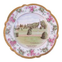 German Gettysburg Battlefield National Cemetery Plate Bavaria Hand Painted Pink Roses and Gold Trim Scalloped Edge Civil War
