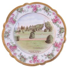 German Gettysburg Battlefield National Cemetery Plate Bavaria Hand Painted Pink Roses and Gold Trim Scalloped Edge