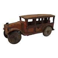 Vintage Cast Iron Orange Car or Toy Bus