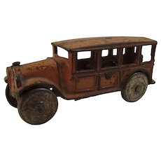 Vintage Cast Iron Orange Car or Toy Bus