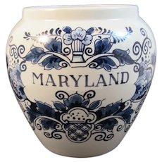 Maryland Blue Delft Tobacco Jar by Royal Goedewaagen Holland Handpainted Signed AK 1421 Designed for Smyth Williamsburg Style