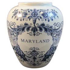 Maryland Blue Delft Tobacco Jar Holland Handpainted Hand Painted & 7 Inch Williamsburg Restoration Style OUD