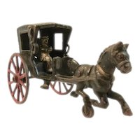 Vintage Hubley Cast Iron Toy Horse Drawn Buggy with Driver