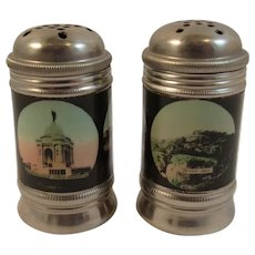1930s Tin Gettysburg Battlefield Souvenir Salt and Pepper Shakers Litho Paper Decoration Devils Den Jennie Wade Pennsylvania Memorial High Water Mark and More