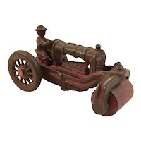 Vintage AC Williams Red Cast Iron Tractor Road Roller Toy
