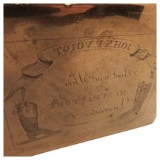 Antique Copper Hand Etched Printing Plate for John F Voigt Boot and Shoe Manufactory Lancaster, Pennsylvania Advertising