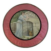 Large Victorian Flue Cover Lady at Well Lithograph