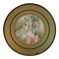 Victorian Flue Cover Girl with Pink Rose and Fan Chromolithograph Tin Edge