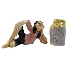 Mountain Girl with Moonshine Jug Humorous Salt & Pepper Shakers